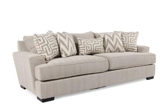 """Contemporary Textured 101"""" Sofa in Cream"""