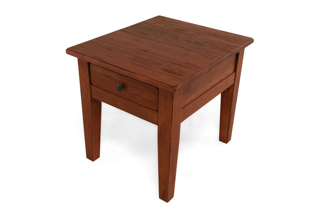 square one drawer country end table in light oak mathis brothers furniture. Black Bedroom Furniture Sets. Home Design Ideas