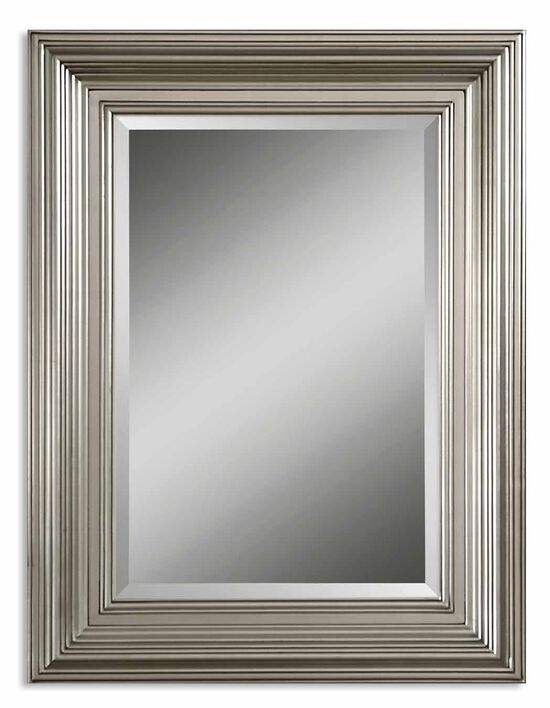 "41"" Stepped Solid Wood Frame Mirror in Silver Leaf"