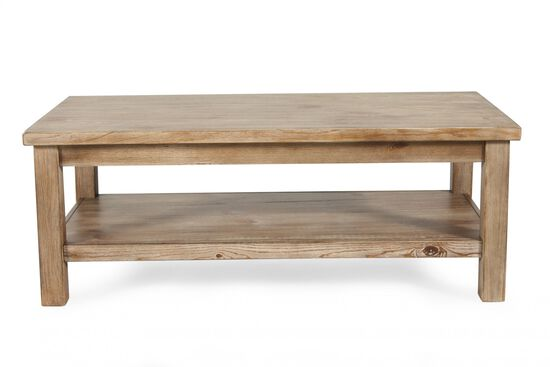 Open-Shelf Casual Cocktail Table in Blond Pine