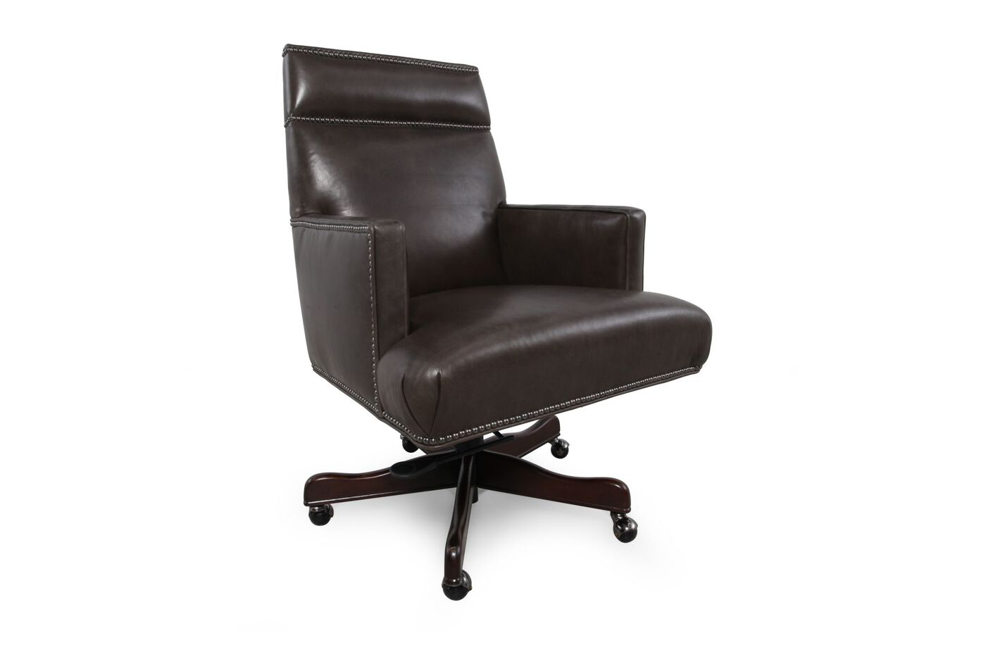 Leather Nailhead Accented Executive Desk Chair In Charcoal