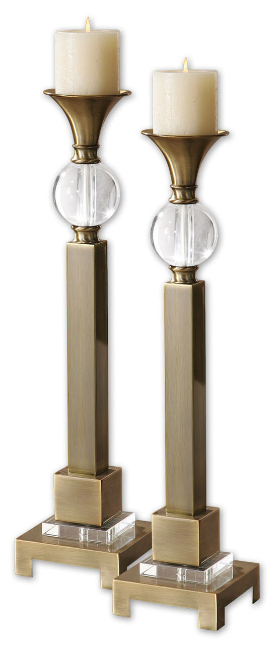 Two-Piece Crystal Accented Candle Holder Set in Coffee Bronze