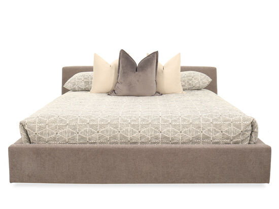 Casual Low-Profile King Storage Bed in Gray