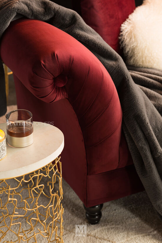 """80"""" Button-Tufted Contemporary Settee in Maroon"""