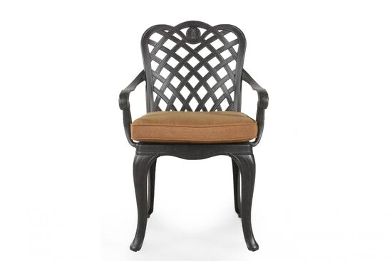 Lattice-Back Traditional Dining Chair with Cushion in Black