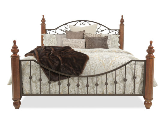 """61"""" Country Scroll Detailed Turned Post Bed in Cherry"""