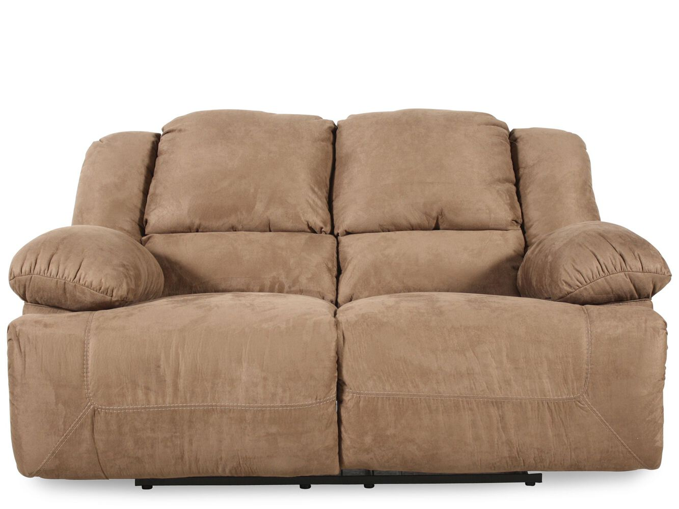 Reclining microfiber 73 loveseat in brown mathis brothers furniture Loveseats that recline