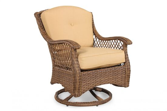 Curved Arm Casual Patio Swivel Rocker Chair in Brown