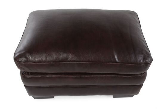 """Contemporary 31"""" Leather Ottoman in Brown"""