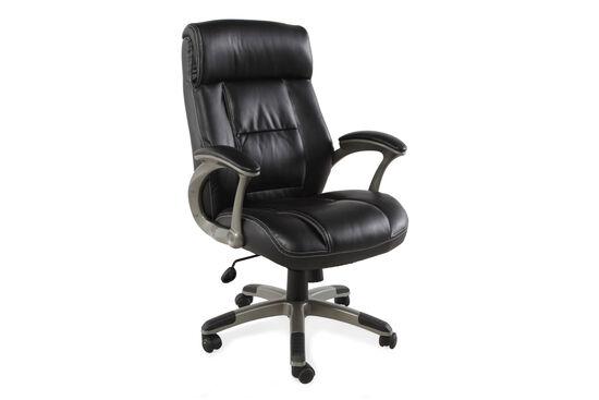 Pleated Leather Swivel Tilt Office Chairin Black