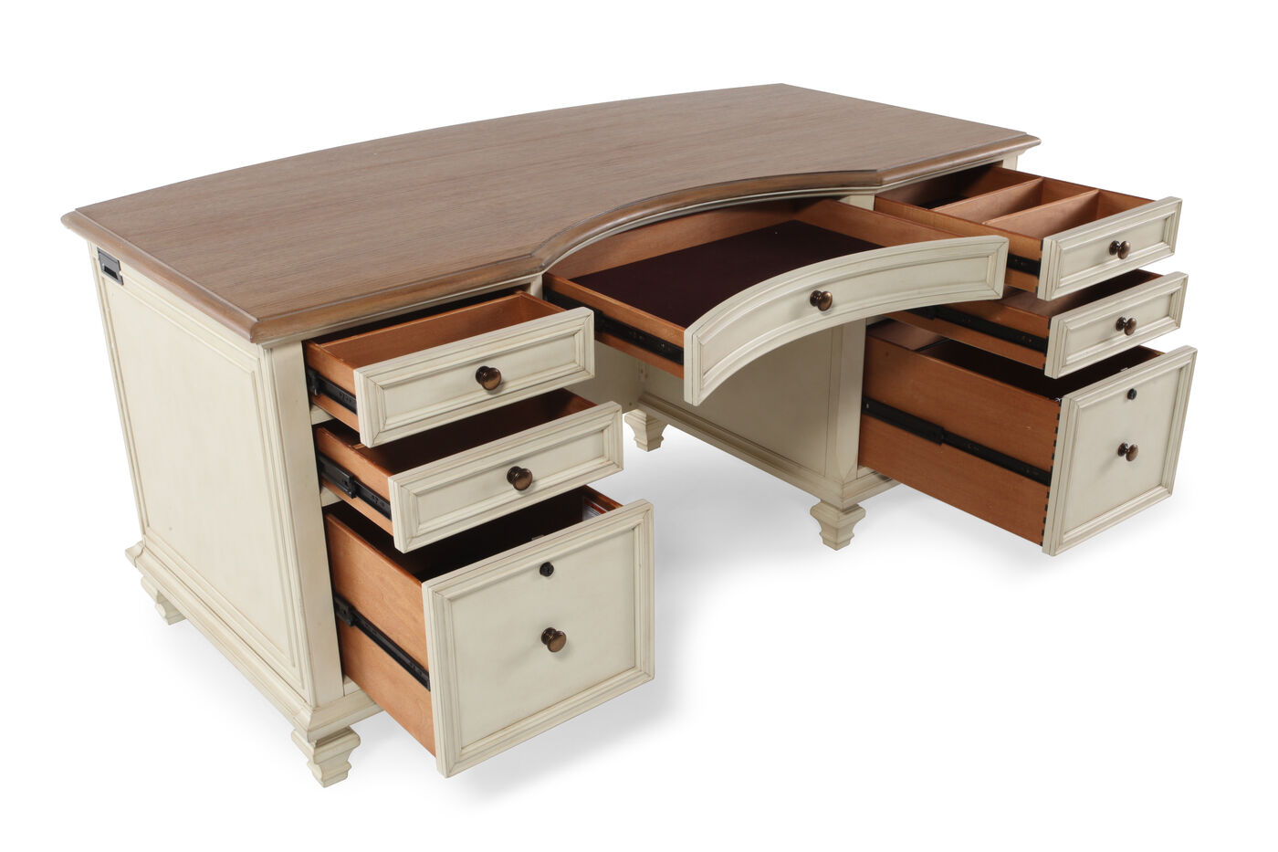 66 Country Seven Drawer Executive Desk In Antique White