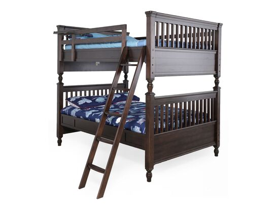 Traditional Youth Full over Full Bunk Bed in Walnut