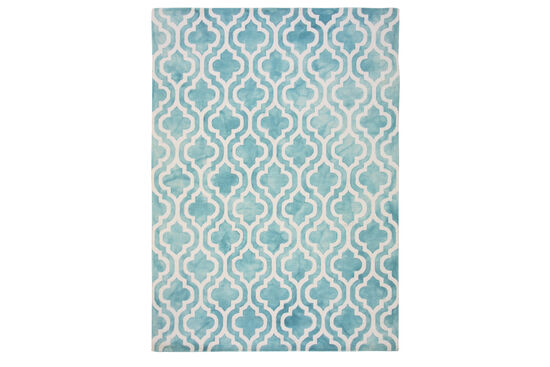 LB Hand Tufted Wool Turquoise Geometric Rug