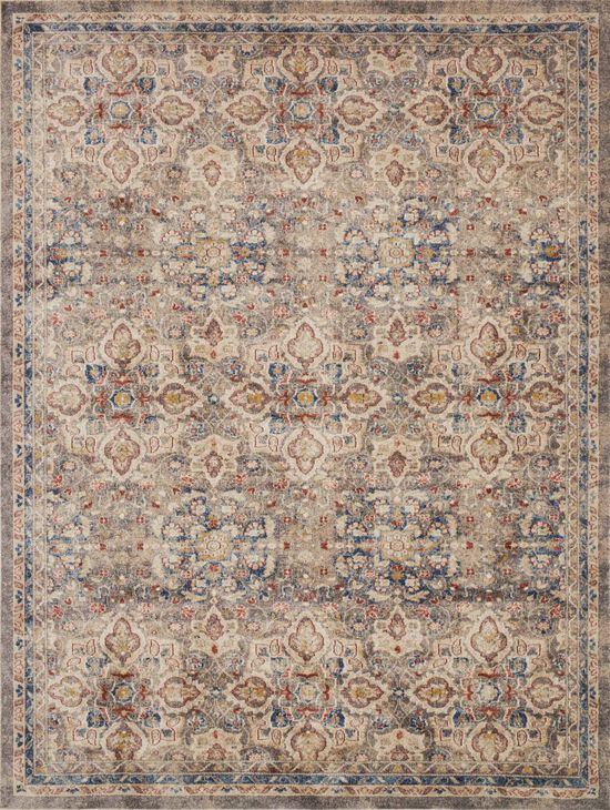 """Traditional 1'-6""""x1'-6"""" Square Rug in Taupe/Multi"""