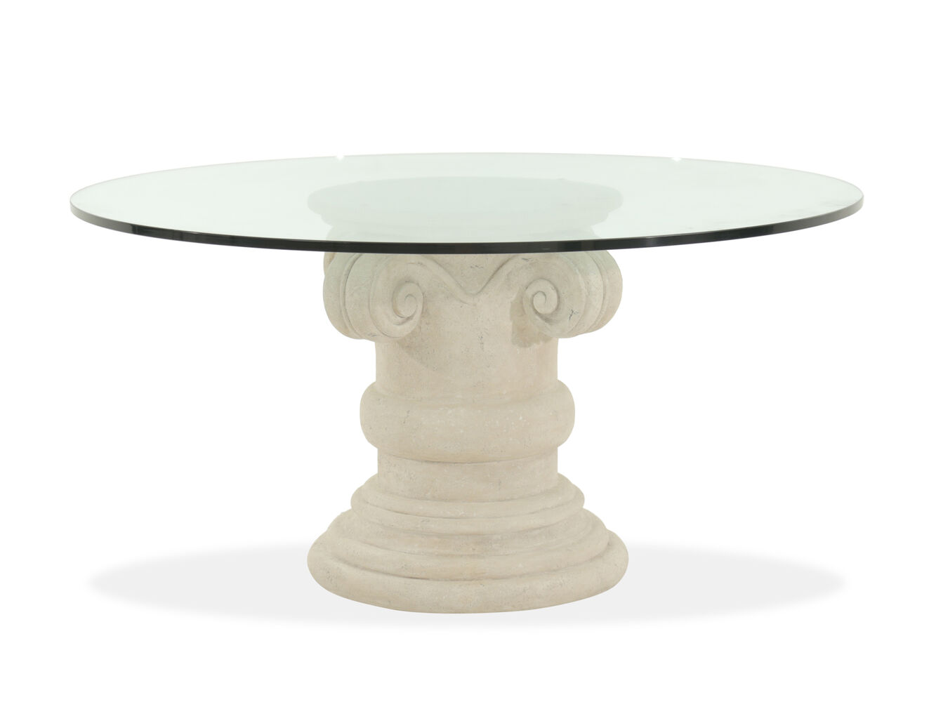 Bernhardt Campania Oyster 60quot Round Glass Dining Table