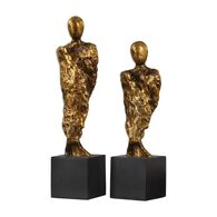 Two-Piece Abstract Figurine Sculptures in Gold