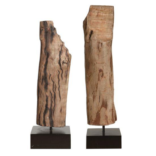Two-Piece Wood Sculptures in Brown
