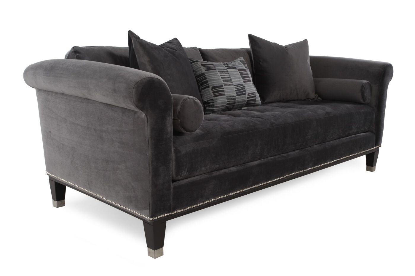 Tufted low profile 91 sofa in dark platinum mathis for Low height sectional sofa