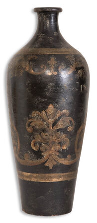 Tall Decorative Vase in Aged Black