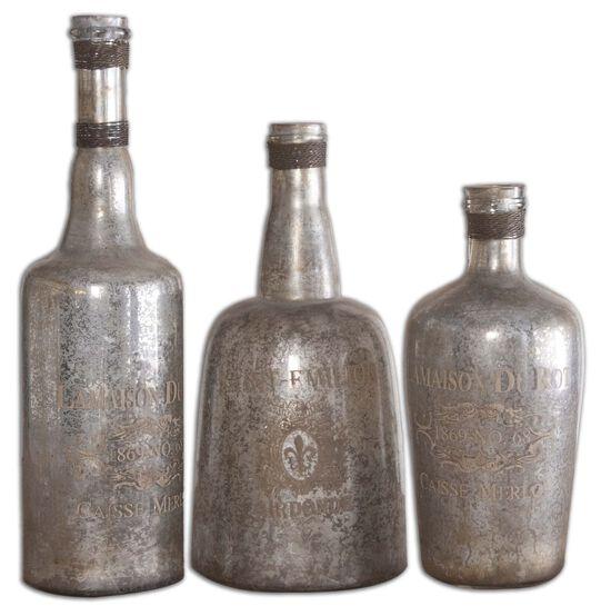Three-Piece Mercury Glass Bottles in Silver