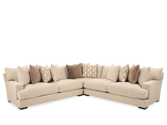 """Three-Piece Casual 126"""" Sectional in Beige"""