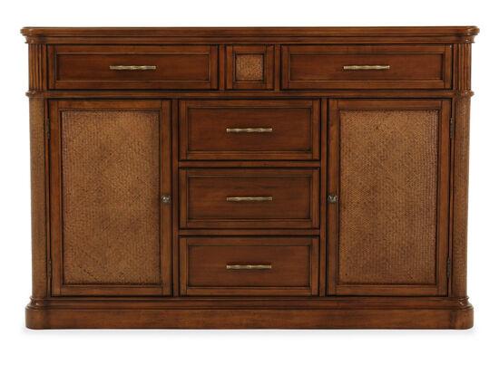 "Raffia-Textured 60"" Sideboard in Brown"
