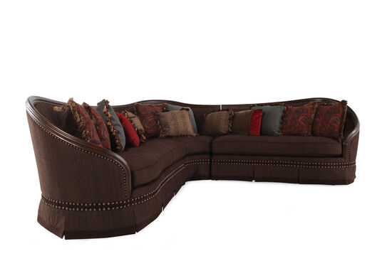 "Three-Piece Traditional Nailhead Bordered 185"" Sectional in Dark Russet Brown"