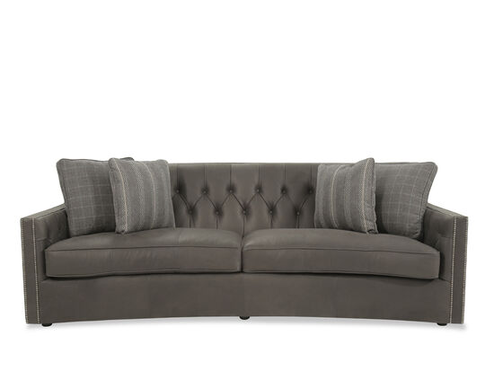 """Button-Tufted Leather 96"""" Sofa in Gray"""