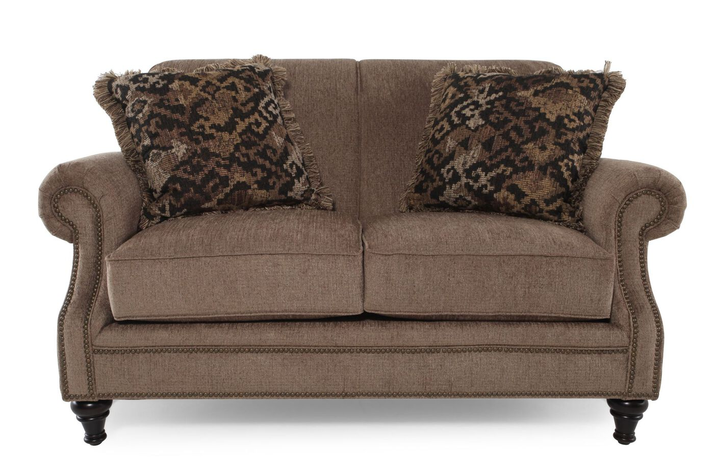 Nailhead Trimmed Contemporary Loveseat In Latte Mathis Brothers Furniture