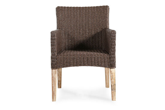 Casual Wicker Arm Chair in Dark Brown