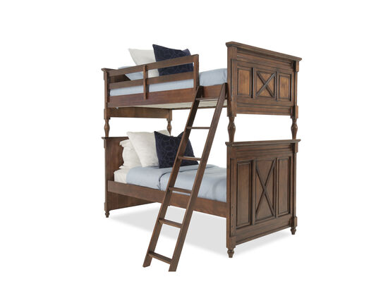 Contemporary Youth Twin Over Full Bunk Bed in Brown