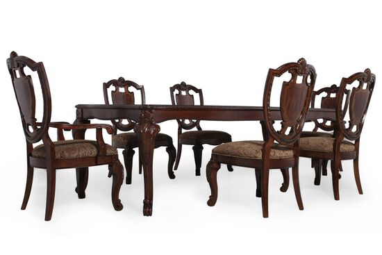 Seven-Piece Traditional 106'' Dining Set in Rich Pomegranate