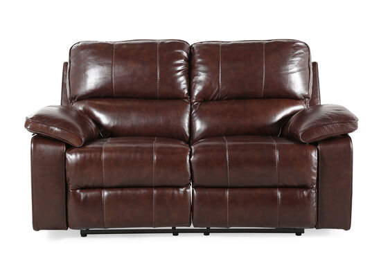 "Power Reclining Leather 68"" Loveseat in Dark Coffee Brown"