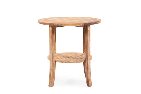 Casual Square Leg Round End Table with Planked Storage Shelf in Light Brown