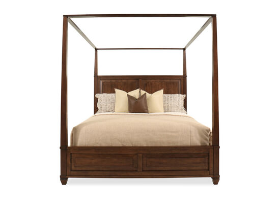 USB Charging Station Transitional Canopy King Bed in Sienna