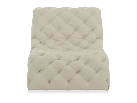 Tufted Leather Swivel Chair in Beige