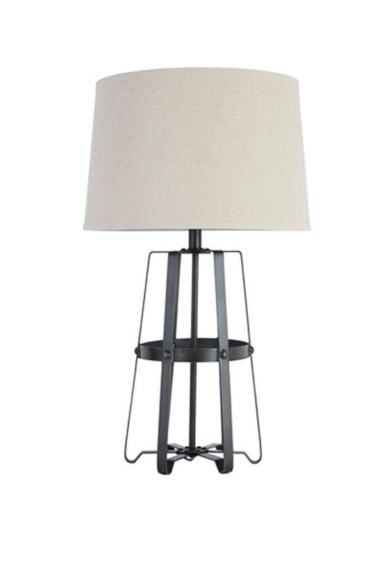 Rivet-Accented Casual Table Lamp in Antique Black