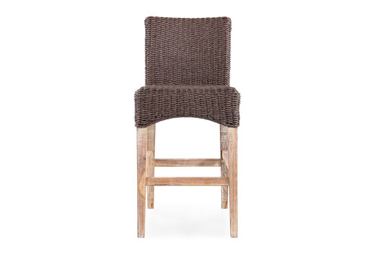 Casual Wicker Bar Stool in Dark Brown
