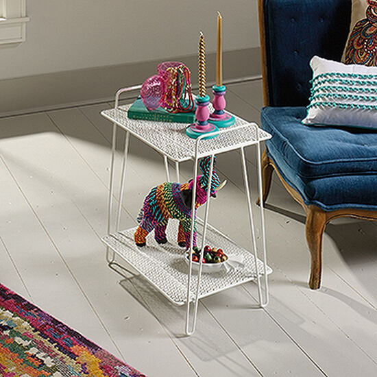 Perforated Shelves Contemporary Accent Table in White