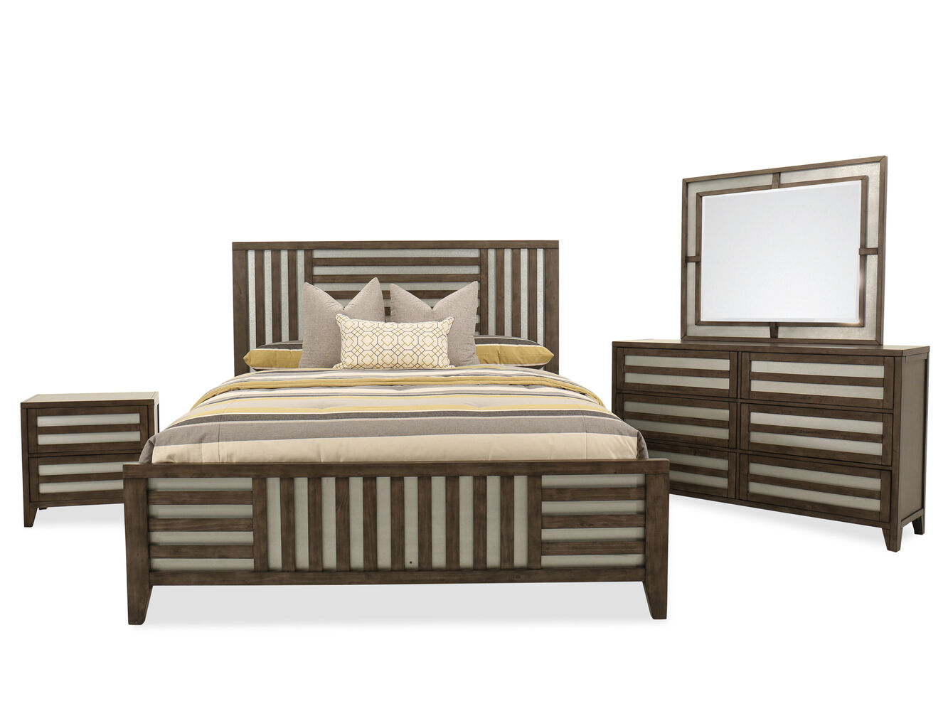 Four-Piece Modern Lattice-Accented Bedroom Suite in Driftwood ...