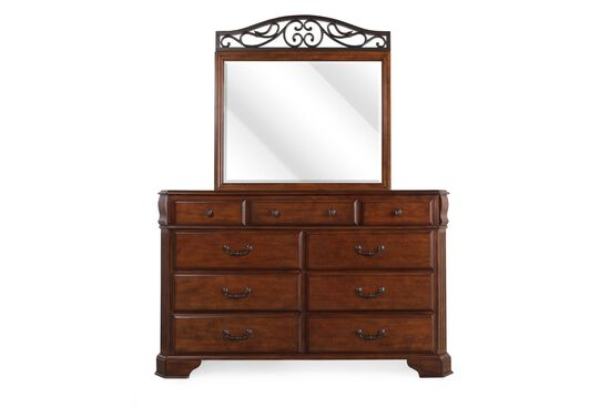 Two-Piece Country Dresser and Mirror in Espresso