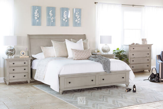 """56"""" Contemporary Sleigh Storage Bed in Gray"""