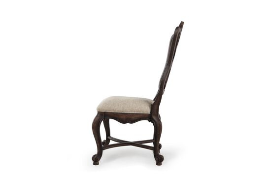 Two-Piece Scrolled Back Side Chair Set in Rustic Walnut