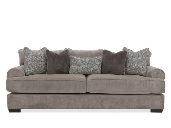 "Low-Profile Plush Rolled Arm 96"" Sofa in Gray"