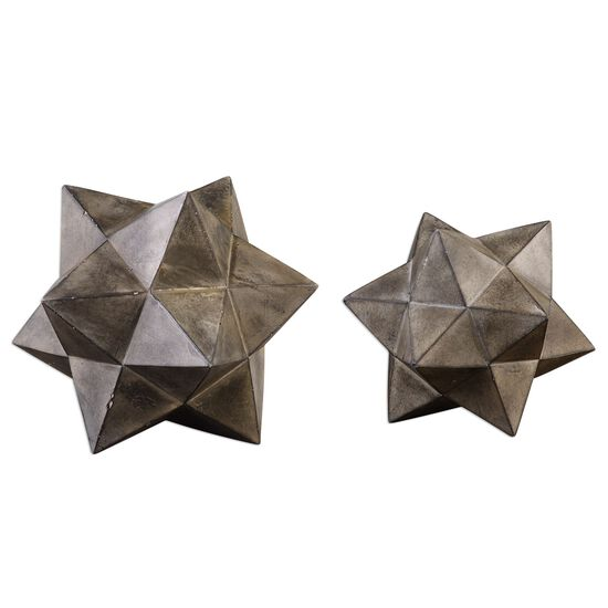 Two-Piece Geometric Stars Concrete Sculpture in Aged Charcoal