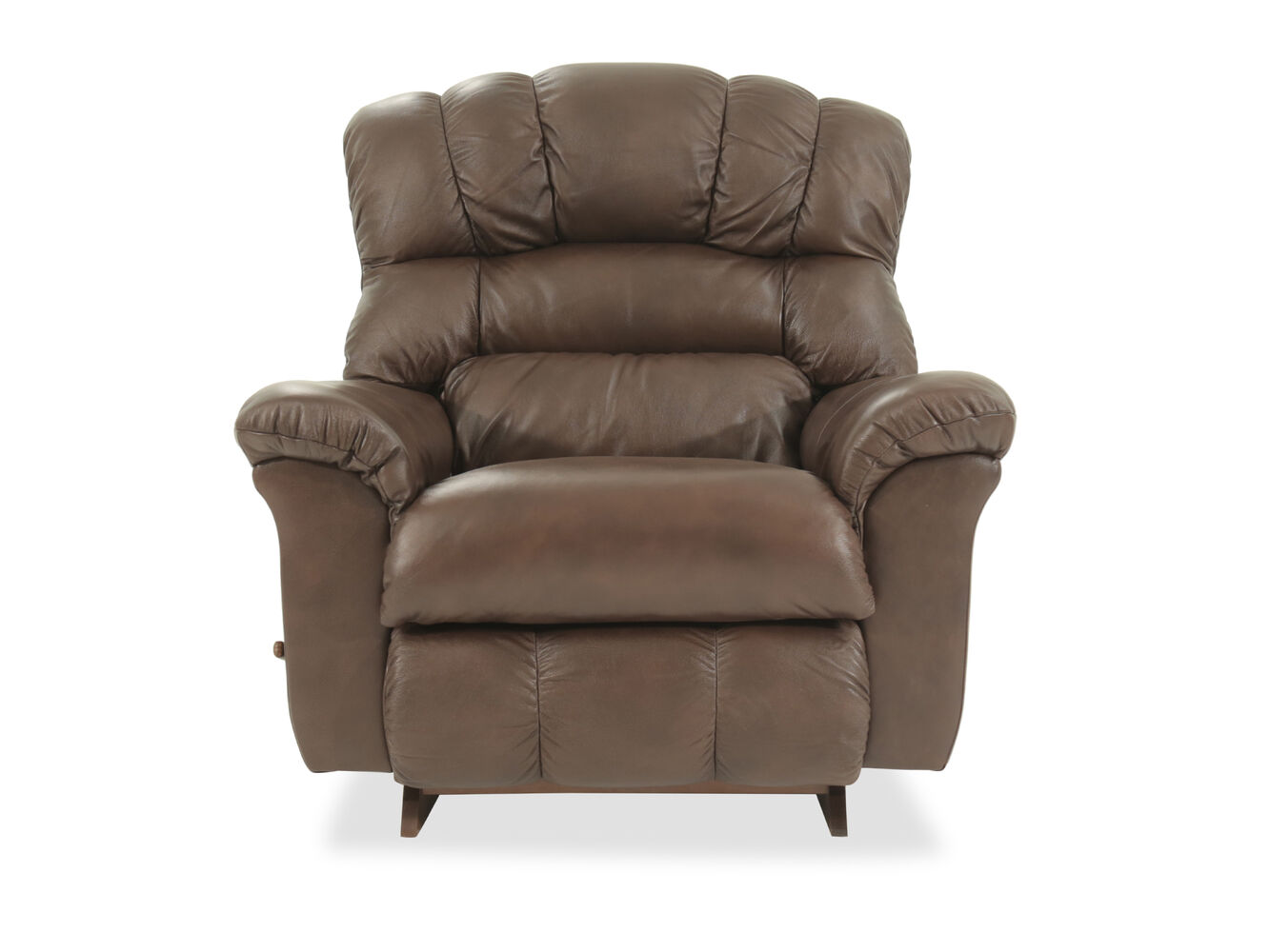 leather padded 46 rocker recliner in brown mathis brothers furniture. Black Bedroom Furniture Sets. Home Design Ideas