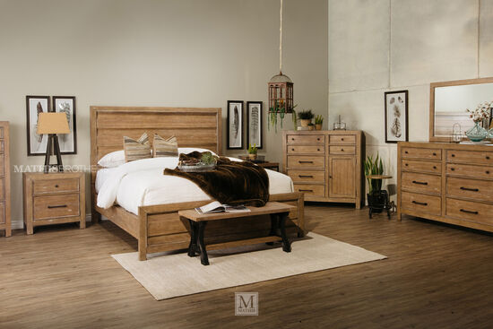 """65"""" Mitered Plank Board Contemporary Panel Bed in Rustic Aged Honey"""