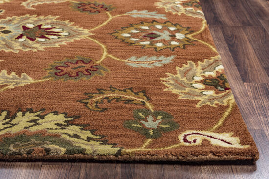 Transitional Hand-Tufted 8'  x  10' Rectangle Rug in Rust