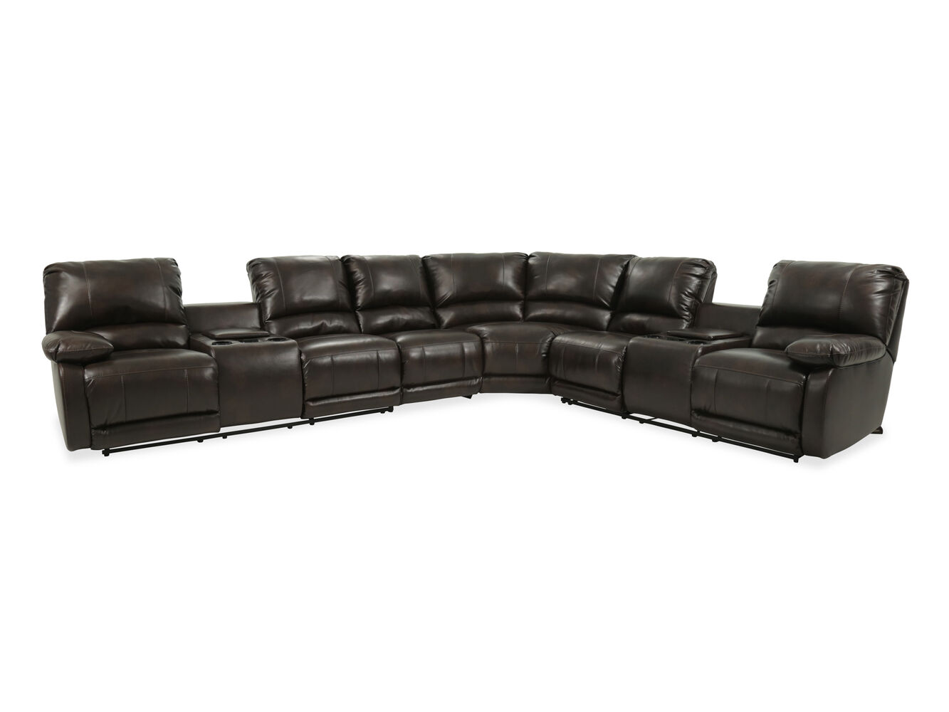 Four piece microfiber sectional in brown mathis brothers for 4 piece sectional sofa microfiber