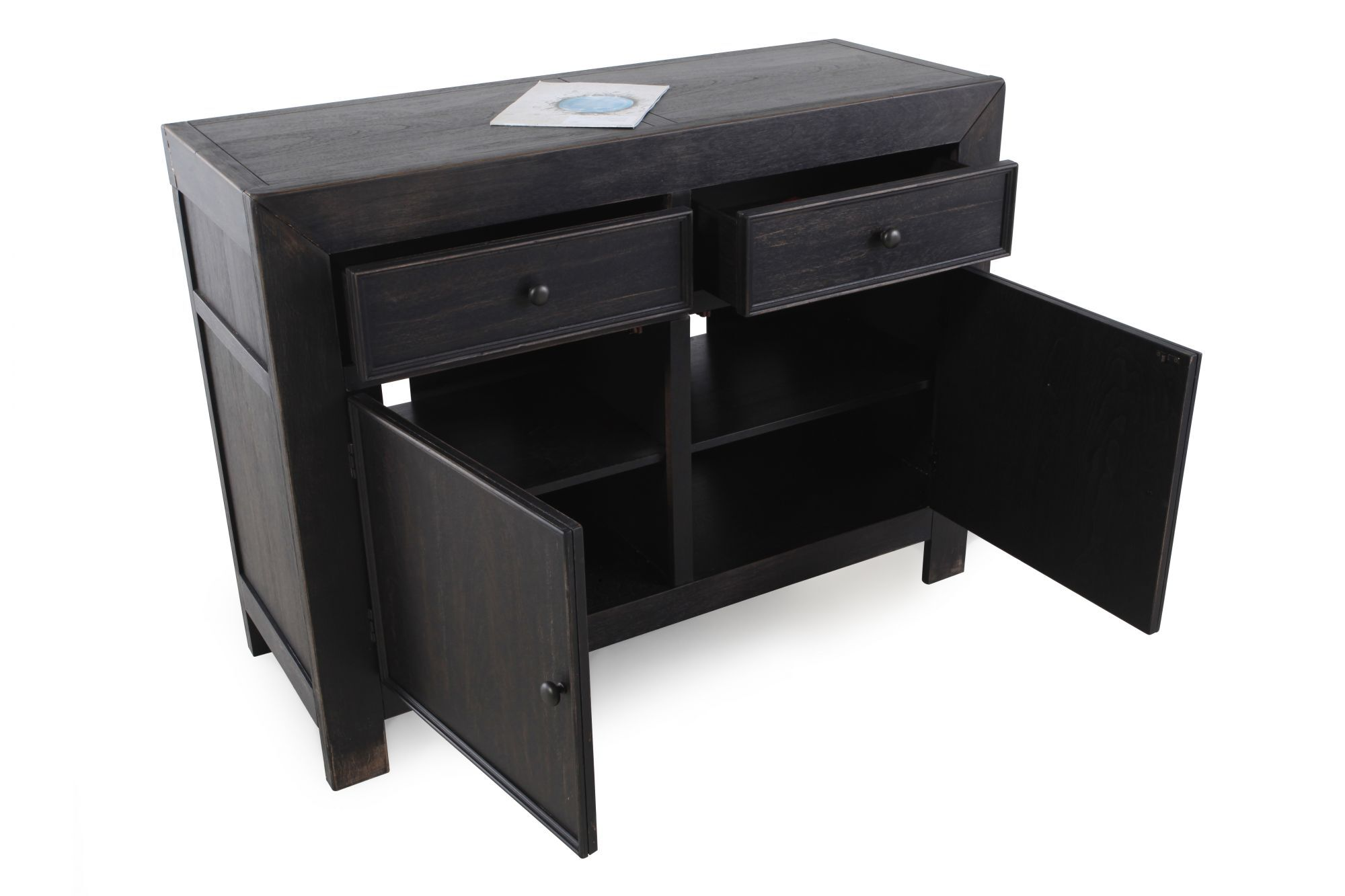 Gentil Two Door Casual Accent Cabinet In Weathered Black